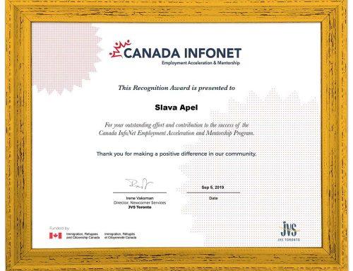 Slava Apel Receives a Recognition Award for Mentorship from Canada InfoNet Employment Acceleration and Mentorship Program